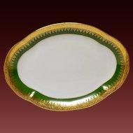 Charles Field Haviland Green & Gold Encrusted Large Oval Platter