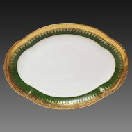 Charles Field Haviland Green & Gold Encrusted Small Platter