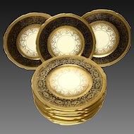 Set (12) Edgerton Pickard Gold Encrusted & Enameled Service Plates