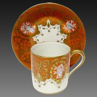 Stunning Atelier Le Tallec Unusual Burnt Orange Demitasse Cup & Saucer