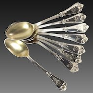 Set (8) Tiffany Beekman Demitasse Spoons Gold Washed Bowls