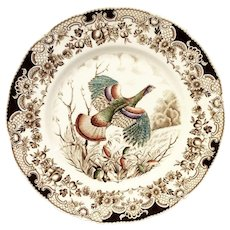 Johnson Bros. Wild Turkeys Flying Brown Dinner Plate