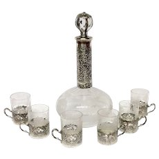 Stunning Scenic Engraved Decanter and Cordials With Hanau Silver Holders