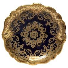 Stunning Rosenthal Cobalt & Gold Encrusted U.S. Zone Footed Bowl