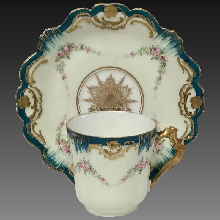 Stunning Antique Klingenberg and Dwenger Limoges Hand Painted Demitasse : hand painted tableware - pezcame.com