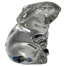 Baccarat Crystal Resting Rabbit Figurine Paper Weight