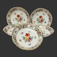 Set(5) Schumann Empress Dresden Flowers Fruit Bowls, U.S. Zone