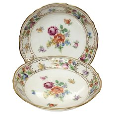 Set(2) Schumann Empress Dresden Flowers coupe Soup or Cereal Bowls, U.S. Zone