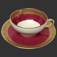 Superb Ahrenfeldt Limoges Ruby & Gold Encrusted Cup & Saucer Ovington's