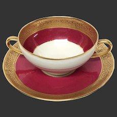 Superb Ahrenfeldt Limoges Ruby & Gold Encrusred Cup & Saucer Ovington's