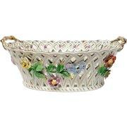 Large Carl Thieme Dresden Pierced Floral Basket