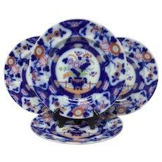 "Superb Set(4) Antique Flow Blue, Polychrome Ashworth ""Bowl & Fence"" Dinner Plates"