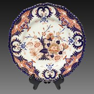 Antique Royal Crown Derby Blue Coral Gold Imari Dinner Plate