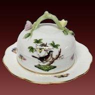 Herend Rothschild Bird Round Covered Butter Dish 393/RO