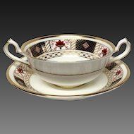 "Royal Crown Derby ""Derby Border"" Cream Soup & Stand"