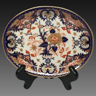 Antique Royal Crown Derby Blue Coral Gold Imari Small Platter or Tray