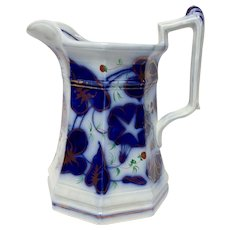 Gaudy Polychrome Flow Blue Morning Glory Pattern Water Pitcher Strawberries