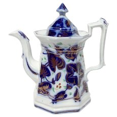 Gaudy Polychrome Flow Blue Morning Glory Pattern Coffee Pot Strawberries