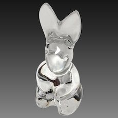 Adorable Signed Baccarat Crystal Wobbling Bunny