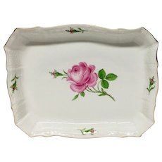 Lovely Meissen Rose Porcelain  Square Baker