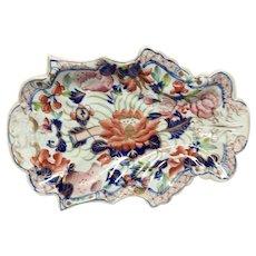Rare Antique Mason's Patn'd Ironstone Water Lily Leaf Shaped Dessert Tray