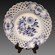 Meissen Blue Onion Cross-Sword Mark Pierced Rim Dinner Plate