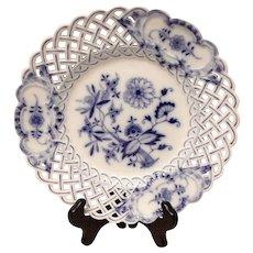 Meissen Blue Onion Cross-Sword Mark Pierced Rim Dinner Plate
