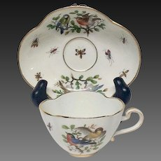 Meissen Quatrefoil Cup & Saucer Birds, Butterflies, Insects