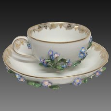 Carl Teichert  Meissen Tea Cup & Saucer Applied Blue Flowers Leaves