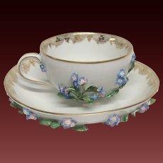 Carl Teichert  Meissen Tea Cup & Saucer Applied Blue Flowers Leaves