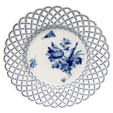Meissen MSS212  Cross-Sword Mark Reticulated Dinner Plate, Blue Flowers, Insects