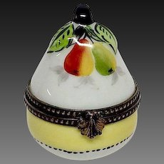 Delightful Rochart Limoges Pear Hand Painted Trinket Box