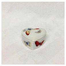 Delightful Dubarry Limoges Tiny Heart Shaped Box, Butterflies