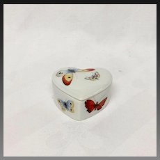 Delightful Dubarry Limoges Tiny Heart Shaped Box, Butterflies
