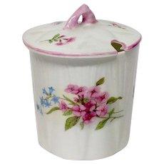 Shelley Stocks Pattern Mustard Jar & Lid, Dainty Shape