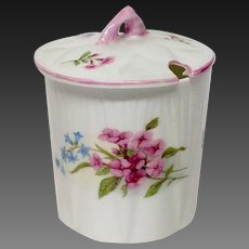 Shelley Stocks Pattern Mustard Jar & Lid, Dainty Shape