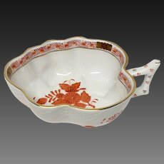 Stunning Herend  Chinese Bouquet Rust Handled Leaf Dish