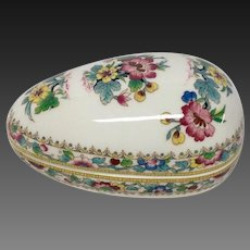 Delightful Coalport Ming Rose China Egg Shaped Trinket Box