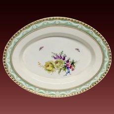 KPM Berlin Kurland Oval Platter, Hand Painted Flowers, Butterflies, Gilding