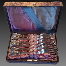 Set (6) 1895 Gorham Chantilly Sterling Fish Forks, Original Box