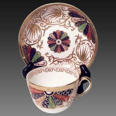 Antique Copeland China Pattern 1201 Imari Fan Cup & Saucer Set