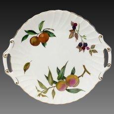 Royal Worcester Evesham Gold Bone China Handled Cake Plate
