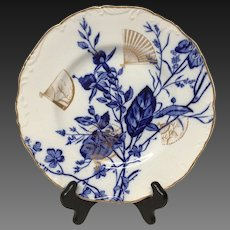 Antique Cauldon Flow Blue & Gold Japanesque Style Luncheon Plate