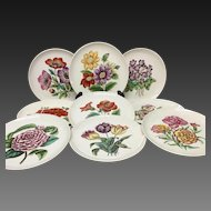 Set (12) Spode Artist Signed Small Foral Motif Dessert Plates