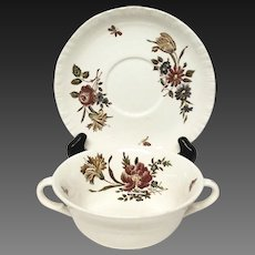 "Wedgwood ""Robert Sprays"" Pattern TK203 Cream Soup & Stand"