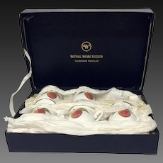 Royal Worcester EVESHAM Set (6) Pot De Cremes Original Box