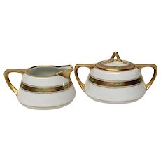 Pickard China Arts & Crafts Style Sugar and Creamer Maple Leaf Mark