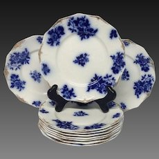 Set (10) GIRONDE Flow Blue Salad Plates by W.H.Grindley & Co.