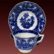 "Rare Wm. Adams ""Kyber"" Flow Blue Cup & Saucer With Gold Trim"