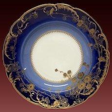 Exceptional Haviland Cobalt, Gold, Dammouse Floral Soup Plate
